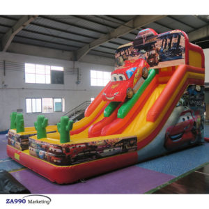 26x16ft Inflatable Double Lane Slides Bounce House Car With Air Blower