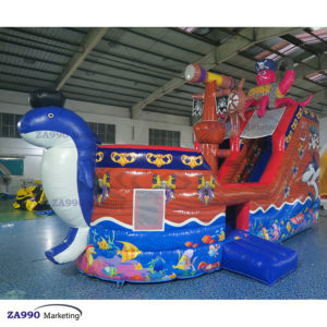 Inflatable Pirate Ship Bounce House Slide With Air Blower