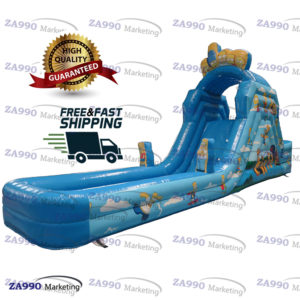 26×6.6ft Inflatable Water Pool & Slide With Air Blower