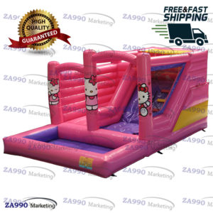 20x13ft Inflatable Hello Kitty Bounce House & Slide Pool With Air Blower