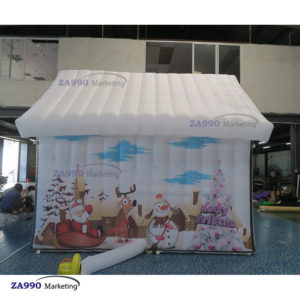 13x10ft Inflatable White Santa Claus Grotto Tent With Air Blower