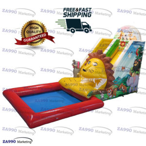 Inflatable Lion Animals Castle Slide Pool With Air Blower
