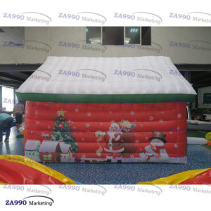 16x13ft Inflatable Christmas House Santa Claus Grotto Tent With Air Blower