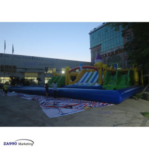 Large Inflatable Water Park With Pool & Slides With Air Blower