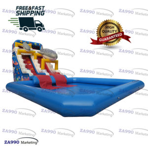26x13x21ft Inflatable Shark Slide With Pool With Air Blower