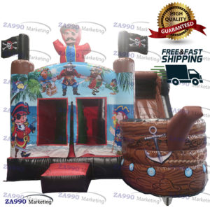 16x13ft Inflatable Pirate Ship Bounce House With Air Blower