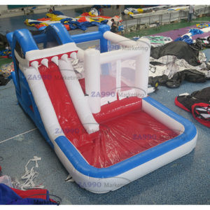 20x13ft Inflatable Shark Castle Slide Pool With Air Blower