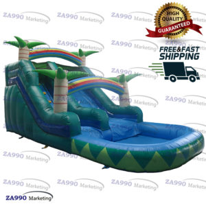 26x13ft Inflatable Trees Bounce House With Slide & Pool With Air Blower
