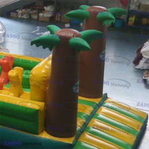 67x14ft Inflatable Ninga Track For Kids With 2 Air Blowers