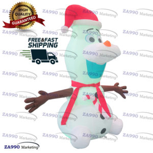 6.6ft Inflatable Snow Man Christmas Led Lights With Air Blower