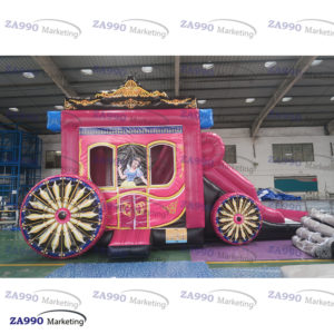 23x10ft Inflatable Princess Carriage & Slide Bounce With Air Blower