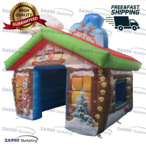 10x10x8.2ft Inflatable Christmas House Santa Claus Tent With Air Blower