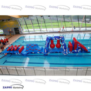 50×6.6ft Inflatable Course Obstacle Slide For Pool With Air Blower