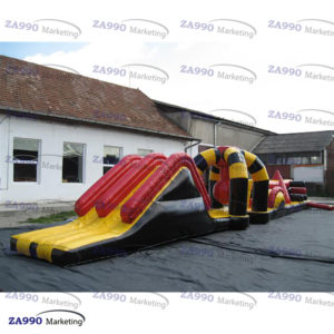 50×6.6ft Commercial Inflatable Course Obstacle & Slide For Pool With Air Blower