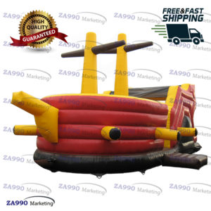 23x13ft Inflatable Pirate Ship Bounce House & Slide With Air Blower