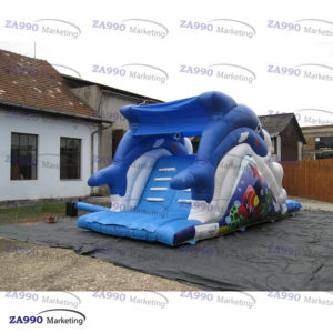 23x10ft Inflatable Dolphin Bounce Slide For Pool With Air Blower