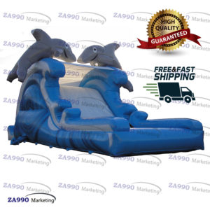 33x10ft Inflatable Dolphins Water Slide With Pool With Air Blower
