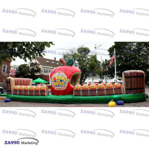 33x10ft Inflatable Bobbing Apple Bungee Run With Air Blower