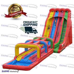 40x16ft Giant Inflatable Water Triple Slip N Slides With 2 Air Blowers