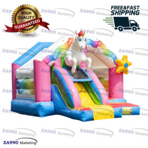 15x13ft Inflatable Unicorn Bounce House With Air Blower
