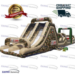 85x12ft Inflatable Boot Camp Challenge Course Obstacle With 4 Air Blowers