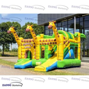 16x16ft Commercial Inflatable Giraff Bounce House & Slide With Air Blower