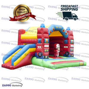 20x13ft Inflatable Fire Truck Bounce House & Slide With Air Blower