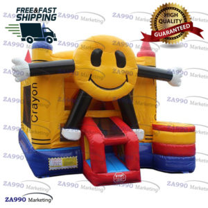 16x16ft Inflatable Happy Face Bounce House & Slide With Air Blower