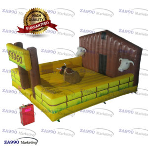 Inflatable Rodeo Mechanical Bull Sports Game Riding Red Eyes With Air Blower