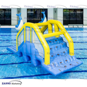 20x10ft Inflatable Dolphin Floating Slide For Pool With Air Pump