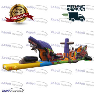 50×6.6ft Inflatable Pirates Course Obstacle For Pool With Air Blower