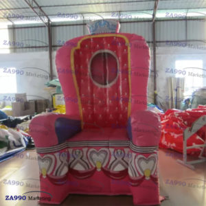 4.3×4.3ft Inflatable Chair Queen Throne Princess With Air Blower