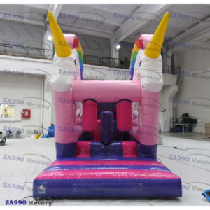 30x10ft Inflatable Unicorn Course Obstacle & Slide With Air Blower
