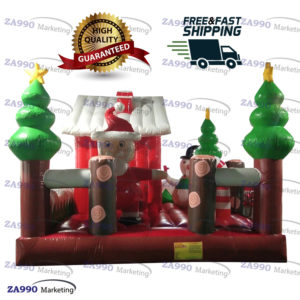 16x15ft Inflatable Christmas Santa Claus Bounce House With Air Blower