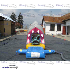 50×6.6ft Inflatable Pirates & Shark Course Obstacle For Pool With Air Blower