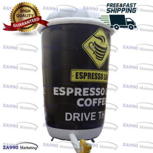 6.6x16ft Inflatable Coffee Cup Model Promotion With Air Blower