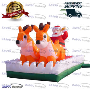 13×6.6ft Inflatable Santa Clause With Reindeer Christmas With Air Blower
