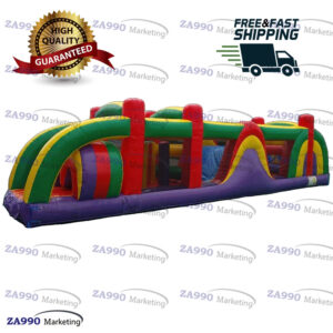 38x10ft Inflatable Course Obstacle Bouncer With Air Blower