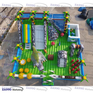 82x82ft Inflatable Dinosaurs Park Bounce Slides With 4 Air Blowers