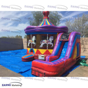 20x20ft Inflatable Carrousel Bounce House & Slide With Air Blower