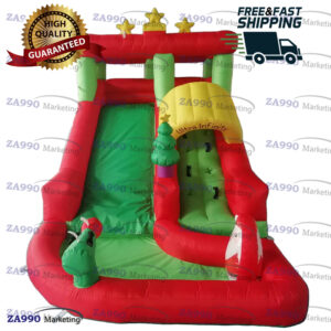 13×6.6ft Inflatable Christmas Santa Claus Bounce Slide With Air Blower