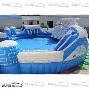 66x66ft Inflatable Winter Water Park Slides & Pool With 3 Air Blower
