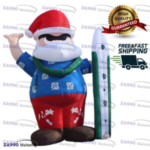 13ft Inflatable Santa Clause With Surfboard With Air Blower