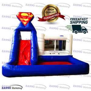 16x16ft Inflatable Superman Bounce Slide & Pool With Air Blower