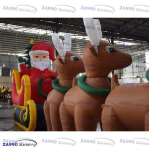 33×11.5ft Inflatable Santa Claus with Reindeer Christmas With Air Blower